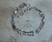 Double Strand Bracelet - Mixed Stone Bracelet - Boho Bracelet - Oxidized Sterling Silver Link Bracelet - Colorful Bracelet - Dainty Bracelet