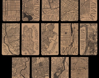 Cities A-G city map letterpress notepad