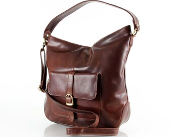 Leather Hobo Purse with Pocket, Brown and Tan