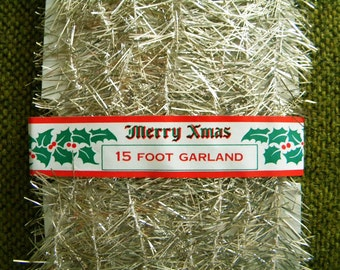 Vintage Unopened Package of Christmas Tinsel Garland for Feather Tree 15 Feet Silver