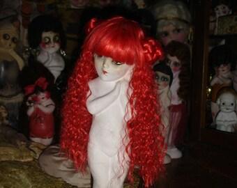 Mimi Bright Orange BJD or Dolfie Doll Wig 10-12 Inch Head
