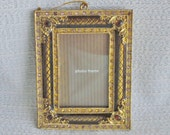 """Ornate Gold Jewelled Picture Frame 3 """" WX 4 """"H X 1/8 """"thick,Hang on wall or Christmas tree.gold color metal Beautiful Vintage Gifts under 20"""