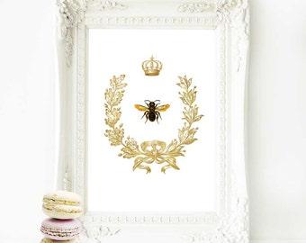 Bee in a gold acorn wreath art print, vintage decor, A4 giclee