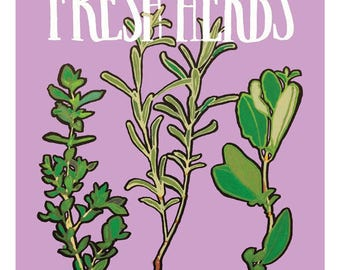 "Fresh Herbs Illustration Print - 5"" x 6"""