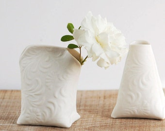 Porcelain Mini Vase. Artful Dodger Variations (Milk). Mini art ceramic vessels by Wapa Studio.