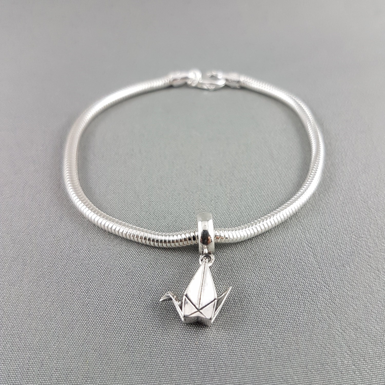 Sterling Silver Origami Paper Crane Pandora Bracelet