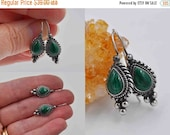 Vintage Boma 925 Sterling Silver & Malachite Pierced Earrings, Green Malachite, Semi Precious, Rope, Beaded, Teardrop, Fab ! #b735