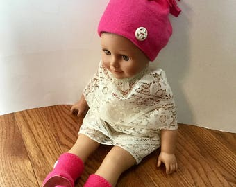 "Fleece Hat and Booties for 18 Inch Dolls. Bright Pink Fleece with White Buttons Trim. 18"" Doll Clothes. Fleece Doll Boots. Fleece Doll Hat."