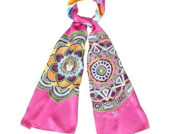 Silk scarf Handpainted, Mandala scarf, Egypt scarf, Skull scarf, Hand made scarf, Sacred geometry, Wing scarf, Pink scarf, Batik scarf