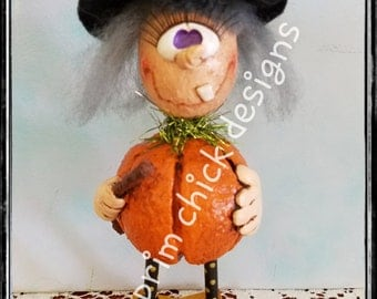 hand painted sculpted whimsical Halloween witch wand pumpkin bat jingle bell tinsel hp prim chick lisa robinson ofg teamhaha KASTASPELLA