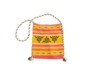 Vintage 70s Shoulder Bag - 70s Boho Bag - Pink Yellow - 70s Greek Shoulder Bag - Woven Bag - Cross Body Bag - Hippie Bag - Ethnic Woven Bag