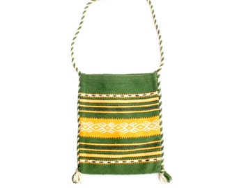 Vintage 70s Shoulder Bag - 70s Boho Bag - Green Yellow - 70s Greek Shoulder Bag - Woven Bag - Cross Body Bag - Hippie Bag - Ethnic Woven Bag