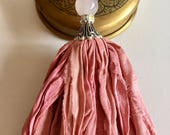 Sari Silk Tassel Necklace-Pink Tassel-Bohemian Tassel Jewelry