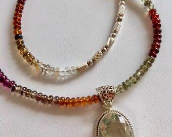 Tourmaline Necklace With Green Garnet Pendant-Pendant Necklace