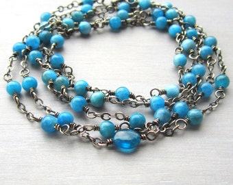 Long Blue Beaded Necklace, Apatite Necklace, Blue Beaded Wrap Bracelet, Yoga Necklace, Blue Yoga Bracelet, Yoga Jewelry, Yogi Gift