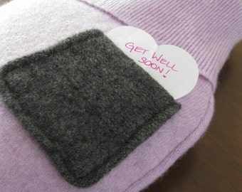 Cashmere Hot Water Bottle Cover. Heathered Lilac Cashmere Warming Bottle Cosy with Pocket. Get Well Soon Gift Idea. Hot Water Bottle Sleeve