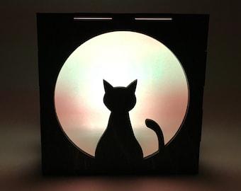 Cat Light Box, Wood Lantern, Cat Lantern, Candle Box, Cat Decor, LED Lantern, Cat Lamp, Home Decor, Light Box, Cat Nightlight, Gift