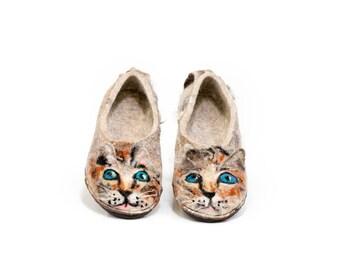 Toddler Kids slipper Youth Kids slippers Organic wool kids slippers Little Kitty