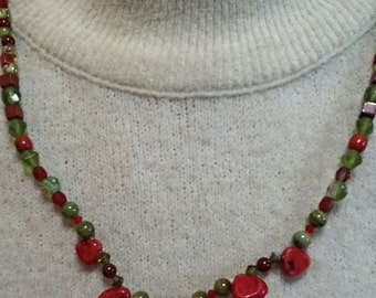 Red Coral Heart Choker Necklace