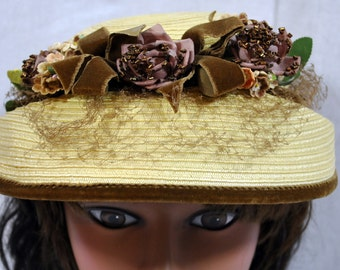 Vintage Straw Hat with Silk Beaded Flowers - Brown Velvet Ribbon - 1950's - Mary Poppins Style