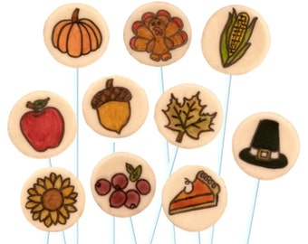 Thanksgiving Candy!  Turkeys, pumpkins and other holiday delights as Lollipops! Perfect Dinner Hostess Gift orTreats for Kids!