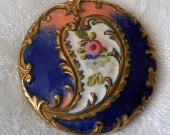 ANTIQUE Paisley with Petite Flower Blue White & Pink Guilloche Enamel BUTTON