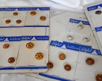 Lot Sets of VINTAGE Metalized Plastic & Metal Salesman Sample Card BUTTONS