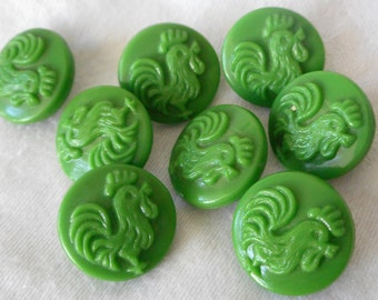 Set of 8 VINTAGE Small Rooster Bird Green Glass BUTTONS