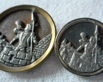 Lot of 2 ANTIQUE Trumpeter of Cracow Metal BUTTONS