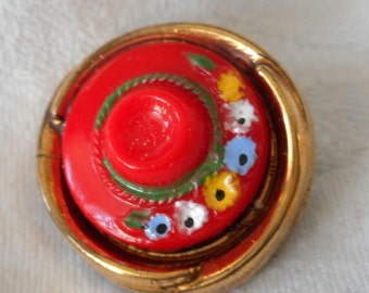 VINTAGE Realistic Red & Black Glass Hat Sewing BUTTON