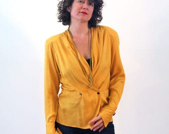 80s Christian DIOR Blouse S, Mustard Yellow Blouse, Silk Blouse, Ruched Slouchy Double Breasted Designer Blouse, Shoulder Pads French Cuffs