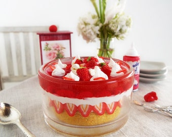 1:6 Scale Miniature TRIFLE Strawberry Shortcake LAYERED Dessert with SPOON - Realistic Polymer Clay Food for Fashion Dolls and Figures