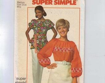 1970s Vintage Sewing Pattern Simplicity 9231 Easy Peasant Blouse Shirt Top Bust 34 36 Size 12 14 1970 UNCUT