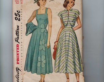 1940s Vintage Sewing Pattern Simplicity 2397 Sundress Jacket Applique Size 14 Bust 32 40s INCOMPLETE