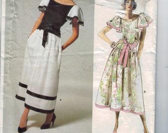 1980s Vintage Sewing Pattern Vogue 1690 Kasper American Designer Full Skirt Dress with Flutter Sleeves Size 12 Bust 34 80s 1986 UNCUT
