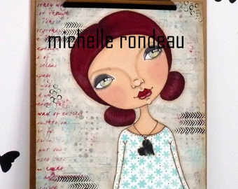 Original Mixed Media Dark Red Hair Girl Painting Art Journal