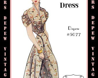Vintage Sewing Pattern 1950's Dress with Ruched Sleeves in Any Size - PLUS Size Included - Depew 5077 -INSTANT DOWNLOAD-
