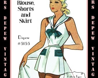 Vintage Sewing Pattern 1950's Sailor Playsuit & Skirt Depew 5155 in Any Size - PLUS Size Included  -INSTANT DOWNLOAD-
