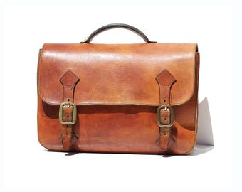 Vintage Brown Leather Portfolio Briefcase Attache Bag