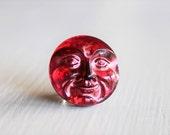 Cherry Red Moon Face 18mm Czech Glass Button