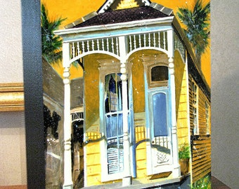 "New Orleans Shotgun House Garden District French Quarter House Art Canvas Print On 8x10x1.5"" and 11x14x1.5"" Gallery Wrap"