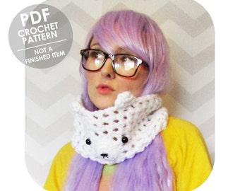 crochet pattern - crochet cowl - mesh cowl - polar bear ears cowl - animal cowl - funny animal - animal scarf - cute animal