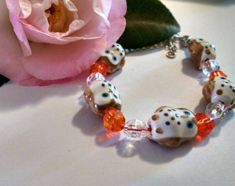 Sale Chic Owl Bracelet with Orange and White Beads on Orange Hemp Chord Adjustable Summer Bride Wedding Mom Sister Friend Owl Lover Beach
