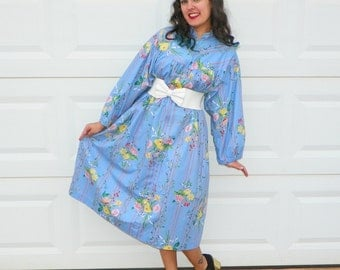 SALE 1970s Vintage Blue Floral House Coat Pink Yellow Striped Floral Zip n Dash Dress High Collar Puff Sleeve Size Large