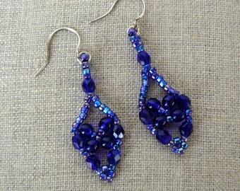 Blue Bead Earrings, Dark Blue Lacy Dangles, Cobalt Netted Teardrops, Long Vintage Style Jewelry, Beadwoven Jewelry, Lacy Beadwork