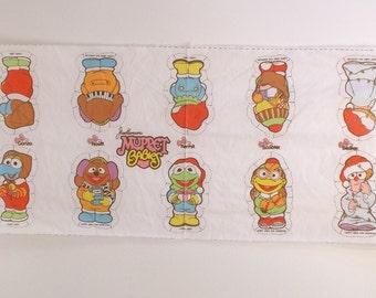 Vintage Muppet Babies Cut Sew Fabric Panel Christmas Kermit Beaker Gonzo Scooter