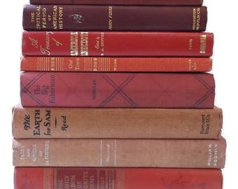 Red Books   Books By The Foot   Decorative Book Stack   Vintage Cloth Books   Book Decor   Photo Prop   Instant Library   Shelf Decor