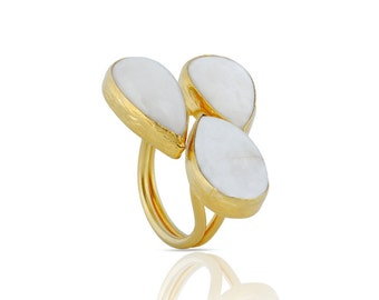 Moonstone Drops Silver Ring in Gold Vermeil - three stone ring - moonstone ring - big moonstone ring - white statement ring - teardrop moon