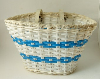 Vintage Child's Bike Basket - 1960s Children's Bicycle Basket or Pannier in Blue and White Plastic