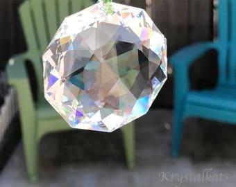 "Large 14"" Beautiful Stunning Big 50mm Dahlia Swarovski Crystal Clear Rainbow Suncatcher Lots of Triangle Facets Home Decor Hanging Crystal"
